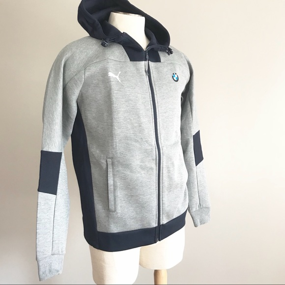 Puma BMW Motorsport hooded gray sweat jacket M NWT
